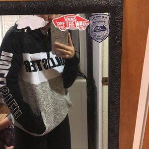 Hollister hoodie black white and gray